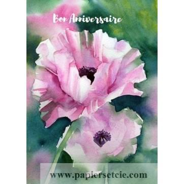 Carte Anniversaire aquarelle 3 Pavots roses