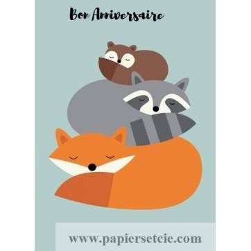Carte Anniversaire enfants Animaux des Bois endormis