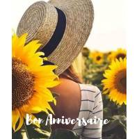 Carte Anniversaire Jeune Femme, Chapeau de Paille et Tournesol