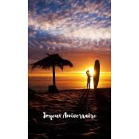 Carte Anniversaire Surf et coucher de Soleil