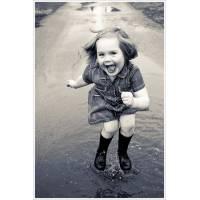 """Carte Enfants Noir et Blanc Vintage Fillette: """"La vie est belle"""""""