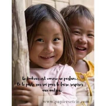 """Carte citation Bonheur: """"Le bonheur est comme un parfum. """""""
