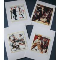 "Cartes enfants, ""Boys"" 3 de Norman Rockwell, paquet de 4 cartes assorties"