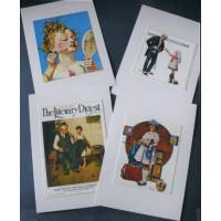"Cartes enfants, ""Girls"" 3 de Norman Rockwell, paquet de 4 cartes assorties"