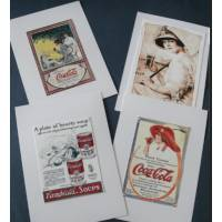 Cartes vintage, Pub de Coca et autres 1, paquet de 4 cartes assorties