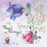 Carte Anniversaire Nina Chen Femme, Fillette et Fleur bleue