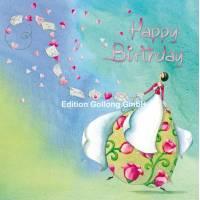 Carte Anniversaire Nina Chen Jeune Femme et guirlande de lettres