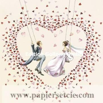Carte Nina Chen Les Mariés sur la Balançoire et les Coeurs