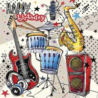 Carte Anniversaire Happy Birthday  Instruments de Musique