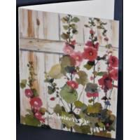 Carte Anniversaire double aquarelle Roses Tremières