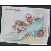 Carte Anniversaire double aquarelle Béatrix Potter Souris dans chaussure