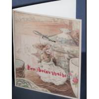 Carte Anniversaire double aquarelle Béatrix Potter Couple de Souris