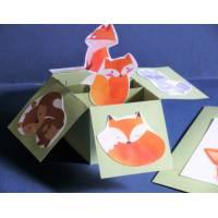 Carte 3 D Pop Up vert clair Les animaux de la Forêt carte artisanale entièrement fabriquée par nos soins