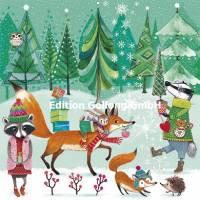 Carte Joyeux Noêl ou Nouvel an Mila Marquis Animaux de la Forêt