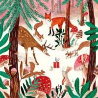 Carte Joyeux Noêl ou Nouvel an Caroline Bonne Animaux de la Forêt