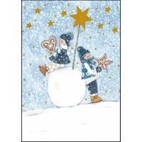 Carte double Joyeux Noël ou Nouvel an Enfants dans la Neige