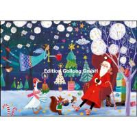 Carte dble Joyeux Noël ou Nouvel an Mila Marquis Père Noël endormi