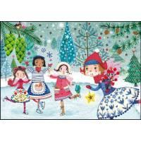 Carte dble Joyeux Noël ou Nouvel an Mila Marquis Fillettes patinant