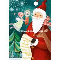 Carte dble Joyeux Noël ou Nouvel an Mila Marquis Père Noël et Ange