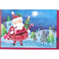 Carte double Joyeux Noël ou Nouvel an Père Noël et ses cadeaux