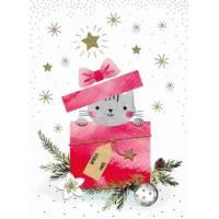 Carte Joyeux Noël ou Nouvel An Chaton en cadeau de Noël