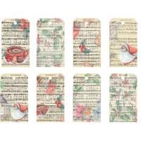 Etiquettes cadeaux Noêl  Vintage (2 feuilles de 8 étiquettes)
