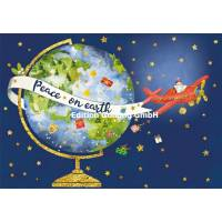 Carte double Joyeux Noël ou Nouvel an Père Noël en avion