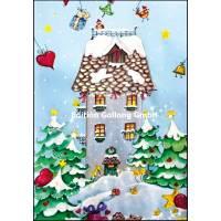 Carte double Joyeux Noël ou Nouvel an La Maison sous la neige