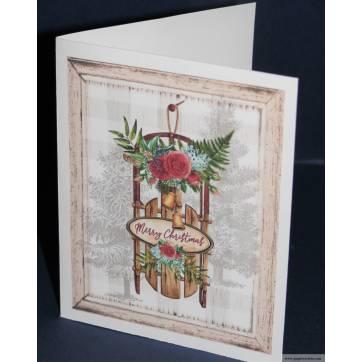 Carte double parfumée Joyeux Noel, épices de Noel et orange, siège fleuri