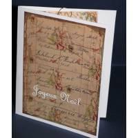 Carte double parfumée Joyeux Noel, épices de Noel et orange, Vintage et Lapins