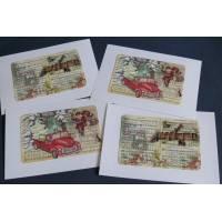 Cartes Joyeux Noël Père Noël, Cantiques, paquet de 4 cartes assorties
