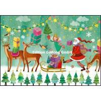Carte dble Joyeux Noël ou Nouvel an Mila Marquis Traineau Père Noël