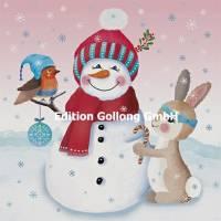 Carte Joyeux Noël ou Nouvel an Bonhomme de Neige et animaux