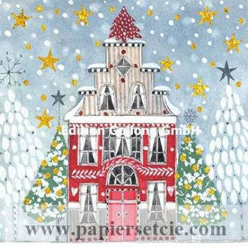 Carte Joyeux Noël ou Nouvel an Kerstin  Hess Maison de Noël