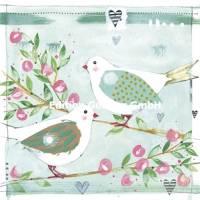 Carte Mariage Kerstin Hess 2 oiseaux amoureux