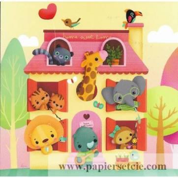 "Carte Elen Lescoat ""Home Sweet Home"" Maison avec animaux"