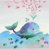 Carte Anniversaire Nina Chen Baleine et Coeurs