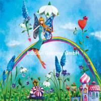 Carte Anniversaire Mila Marquis Elfe Papillon et Arc en ciel