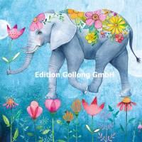 """Carte Anniversaire Mila Marquis """"L'Elephant à fleurs"""""""