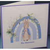 Carte Anniversaire double aquarelle Béatrix Potter Lapinou bleu