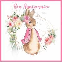 Carte Anniversaire enfants aquarelle Peter Rabbit rose