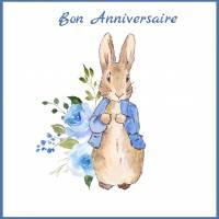 Carte Anniversaire enfants aquarelle Peter Rabbit bleu