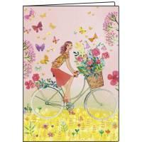 Carnet Mila Marquis Jeune Femme en Vélo 10,5 x 15 cm