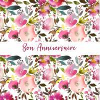 Carte Anniversaire aquarelle artisanale Fleurs Anna