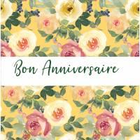 Carte Anniversaire aquarelle artisanale Fleurs Flora