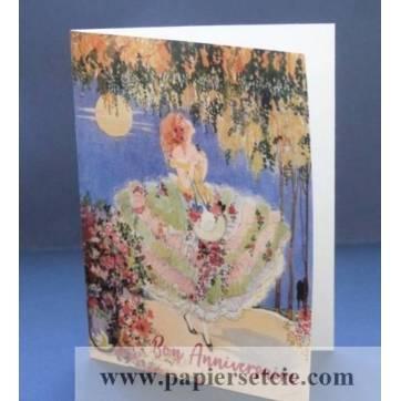 Carte Anniversaire double Jeune Femme et robe fleurie