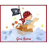"""Carte """"Gros Bisous"""" Petit Pirate en Mer et son Chien"""