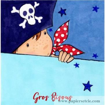 "Carte ""Gros Bisous"" Mon Petit Pirate"