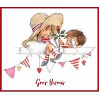 """Carte """"Gros Bisous"""" Fillette, Petit Garçon et Fleur"""