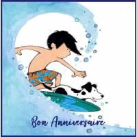 Carte Anniversaire enfants Surfeur et son Chien